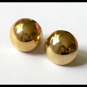 Gold Domed round earrings vintage